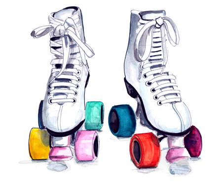 Roller Skates Color Drawing Roller Skates Colored Wheels
