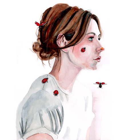 watercolor portrait with ladybugs by tracy hetzel