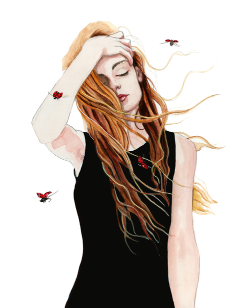 fashion illustration with ladybugs by tracy hetzel
