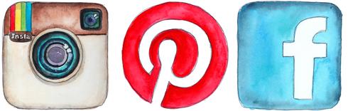 social media watercolor icons by tracy hetzel