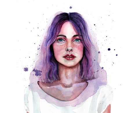 watercolor portrait by tracy hetzel
