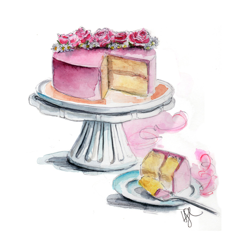 A Drawing Of A Girl Making A Cake