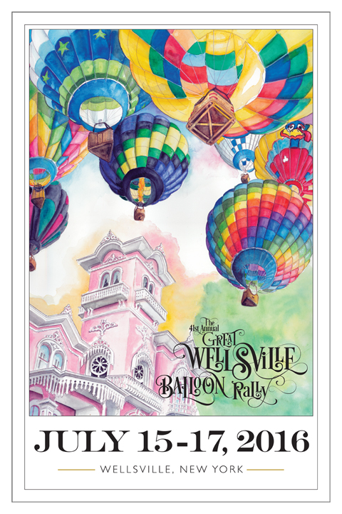 2016 Great Wellsville Balloon Rally poster by Tracy Hetzel