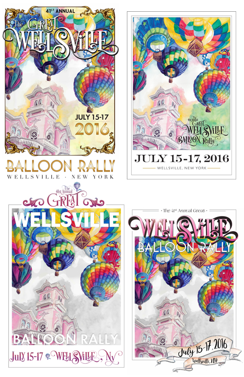 wellsville balloon rally poster designs by tracy hetzel